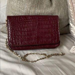 Dark red chain crossbody bag
